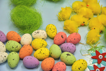 Creativity concept - easter craft decorations for handmade home interior decorations Stock Photo