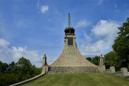 Prace, Czech Republic - June 9, 2018: The Peace Memorial on Prace hill. Female statues are symbolizing France, Austria, Russia, Moravia. A small museum commemorates the battle of Austerlitz. Editorial