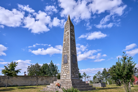 Vrbice, Czech Republic - June 30, 2018: A monument to the liberation. On top of the hill a monument to the liberation was after 1945, in memory of fighting II. world war