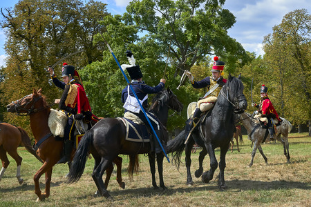 Slavkov u Brna, Czech Republic - August 11, 2018: The annual entertainment activity takes place in Slavkov-Austerlitz castle and included life and war demonstration. Cavalrymen in the historical uniform Editorial