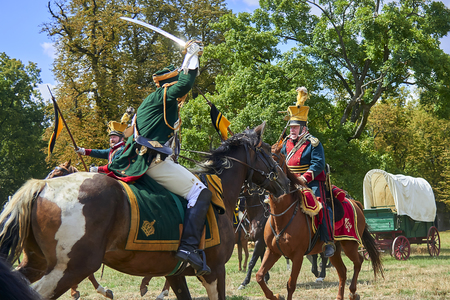 Slavkov u Brna, Czech Republic - August 11, 2018: Historical reenactment in Slavkov and Brna (Austerlitz). Cavalrymen in historical uniform. Editorial