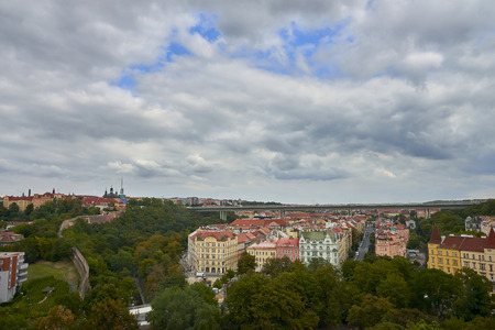 Panorama of Prague with its houses and landmarks before storm Redakční