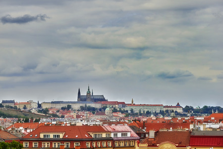 Panorama of Prague with its houses and landmarks before storm Reklamní fotografie