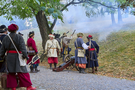 Brno, Czech Republic - August 18, 2018: Historical reenactment Day of Brno. Actors in historical Infantry attack Spielberg castle