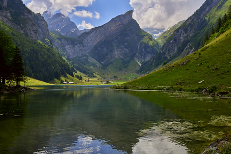 Stunning view of the Seealpsee (lake) and the Alpstein massif