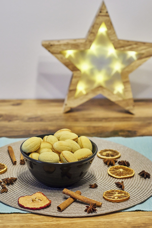 Walnut shaped butter cookies and christmas decor Stock Photo