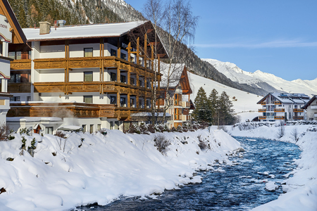 Ischgl, Austria - December 24, 2017: Winter resort Banque d'images - 114642730