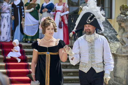Slavkov u Brna, Czech Republic - August 11, 2018: Slavkov-Austerlitz castle historical reenactment. Players play Standard-Bild - 114642750