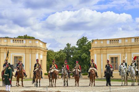Slavkov u Brna, Czech Republic - August 11, 2018: Slavkov-Austerlitz castle historical reenactment. Silenkovo-Austerlitz castle Standard-Bild - 114642751