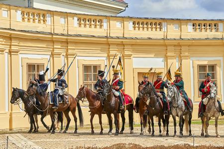 Slavkov u Brna, Czech Republic - August 11, 2018: Slavkov-Austerlitz castle historical reenactment. Silenkovo-Austerlitz castle Banque d'images - 114642752