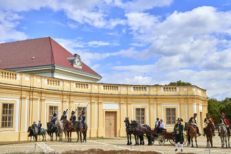 Slavkov u Brna, Czech Republic - August 11, 2018: Slavkov-Austerlitz castle historical reenactment. Silenkovo-Austerlitz castle Banque d'images - 114642754