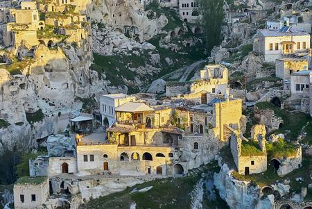 Cappadocia, Turkey: Ortahisar City in Cappadocia, Turkey on sunset Standard-Bild - 114618770