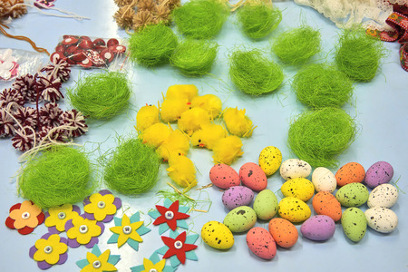 Creativity concept - easter craft decorations for handmade home interior decorations Standard-Bild - 114618800