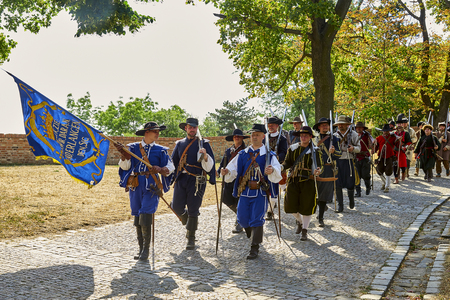 Brno, Czech Republic - August 18, 2018: Historical reenactment Day of Brno. Infantrymen in historical costumes Banque d'images - 122970779