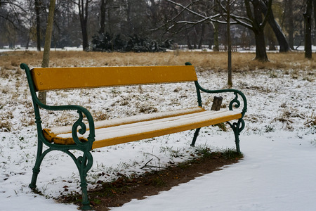 Snow-covered wooden bench in the morning Banque d'images - 122963802