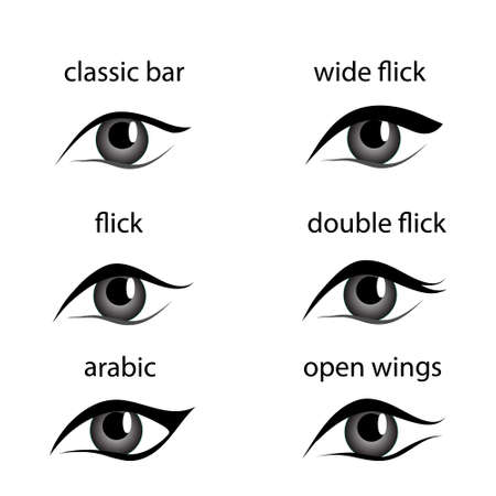Various types of eyeliner, vector set. Types of eye makeup. Eyeliner shape tutorial, Isolated on white background. Beauty article, magazine, book.