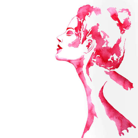 Abstract woman face. Pink fashion illustration. Watercolor painting isolated Stock Photo