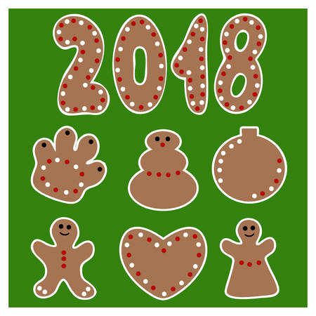 Vector Set of cartoon gingerbread christmas cookies isolated on green background Illustration
