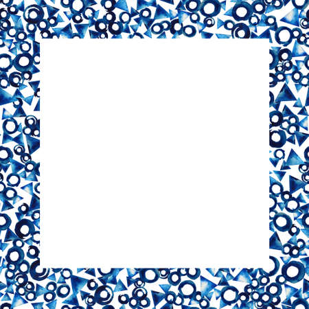 Blue watercolor frame with circles and triangles. For design of your site, cards or invitations. On the topic of the winter, sea, recreation, sky.  Hand painted texture Stock Photo