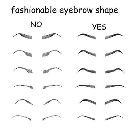 Right and wrong eyeliner and eyebrows shapes. Female eyes and eyebrows vector elements isolated on white background. Types of eye makeup