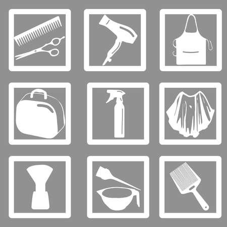 Beauty salon or barbershop monochrome icon set. Hairdresser styling accessories. Professional barber haircut tools. Isolated vector illustration; apron
