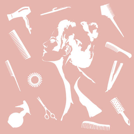 Beauty store and salon pink background.  make up artist and hairdressing objects: comb, brush, scissors, hair dryer,  woman silhouette, hair band. Template Vector. Hand drawn isolated objects