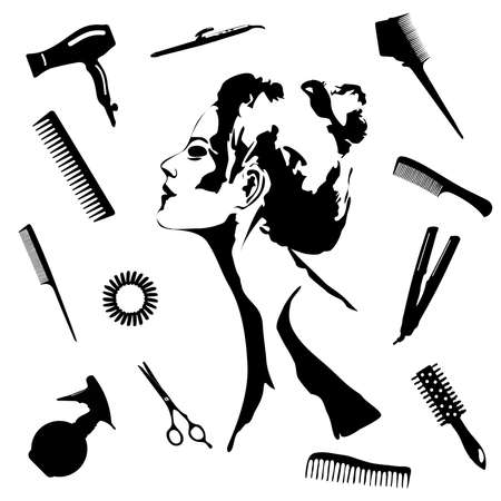 Beauty store and salon background.  make up artist and hairdressing objects: comb, brush, scissors, hair dryer,  woman silhouette, hair band. Template Vector. Hand drawn isolated on white objects Illustration