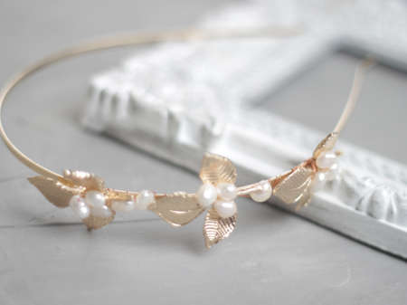 Wedding golden leaf accessory headband with natural freshwater pearls