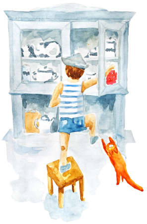 boy in a kitchen looking for a candy in light blue cupboard. Watercolor illustration in old style. Red cat helps Stock Photo
