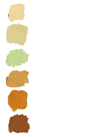 Makeup corrector blur cream set isolated on white background. Top view collage corrective tonal base. Foundation for all skin type problems. Set of tonal cream Stock fotó