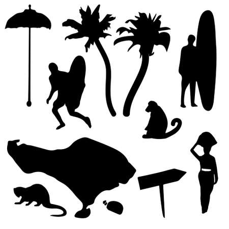 Palm trees, monkey, surfers with surfboards illustration.