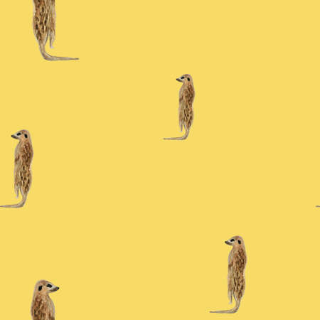watercolor animal  mercats seamless pattern on yellow background. Endless fashion illustration for fabric or paper. Hand drawn and painted african surricats