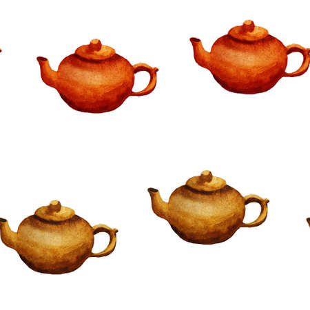 watercolor teapot or kettle seamless pattern on white background. Endless fashion illustration for fabric or paper. Pottery kitchen