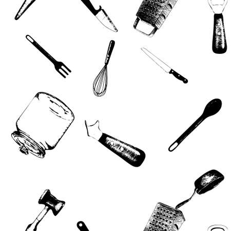 Cooking utensils and kitchen tools   seamless background doodle vector. Hand drawn sketch kitchen stuff on a blackboard background
