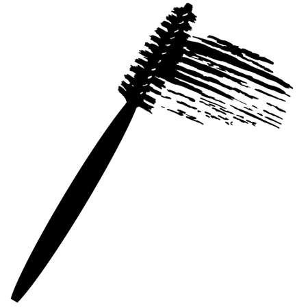 Vector make-up cosmetic mascara brush design concept with brush stroke. Realistic Powder mascara brush Isolated on White background. Illustration