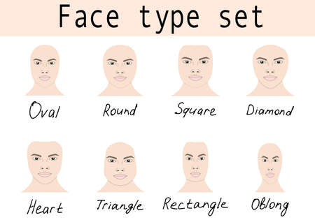 Face shapes guide for make up artist school.  Blank faces without make up vector illustration. Individual of different face shapes. Make up, hair and  eyewear fitting guide.