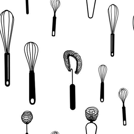 Seamless pattern with black hand drawn whisk kitchen utensil. Egg beater graphic emblem on a white background. Culinary symbol. Vector illustration Ilustração