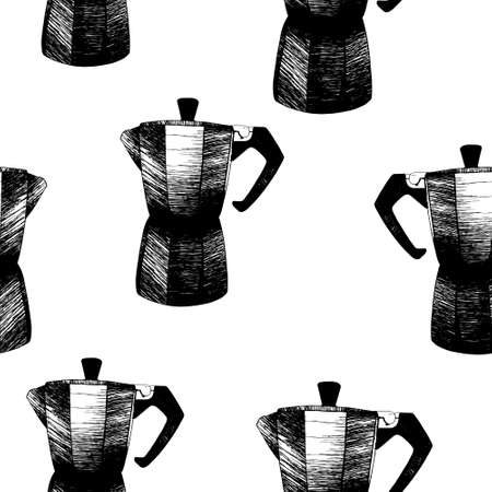 seamless pattern with traditional italian geyser coffee moka maker pot vector illustration isolated on white background
