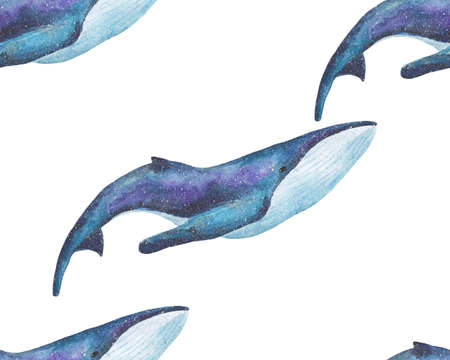 Watercolor space magic whales seamless pattern. Hand drawn and painted Illustration on white background. Children underwater pattern.