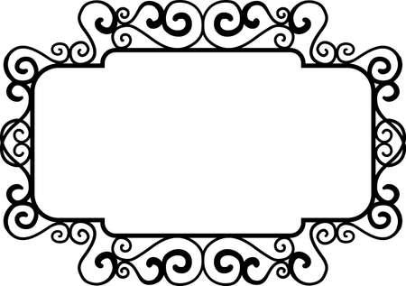 Cornici vintage quadrate nere, elementi di design. Schizzo disegnato a mano. Bordo decorativo. Illustrazione vettoriale isolato bacjground