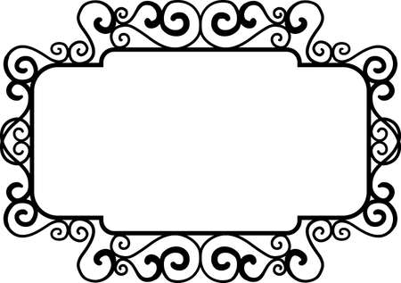 Black square vintage frames, design elements. Sketch hand drawn. Decorative border. Vector illustration isolated bacjground Illustration