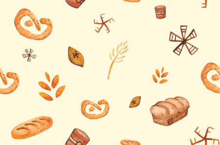 Bakery products, baking print. Pastry seamless pattern. Kitchen background
