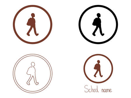 School emblem. Set of colorful isolated vector icons illustration Banque d'images - 133205936
