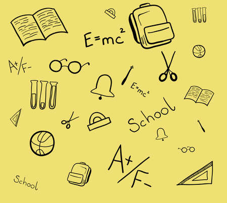 Seamless pattern of school elements. Isolated background vector illustration