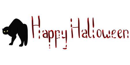 HappyHalloween calligraphy with blood for Halloween. Text banners party invitation. Vector calendar illustration. Illusztráció