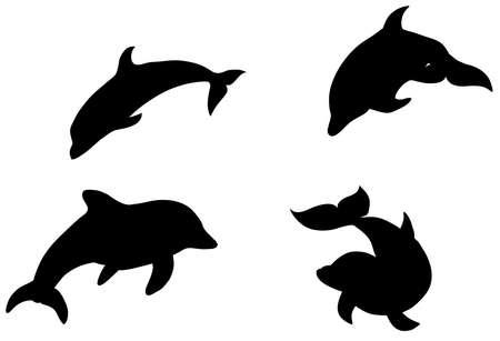 Black illustration pattern of watercolor swimming dophins isolated on white background Ilustração