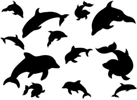 Black illustration vector pattern of swimming dophins isolated on white background for print Ilustração