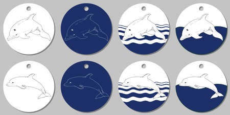 Round sticker template with sea dolphin. Isolated vector illustration with white and blue stains on white background