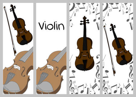 Vertical banners, buisness card template with violin, alt and bow. Isolated vector illustration with musician on white background