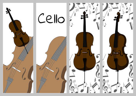 Vertical banners, buisness card template with cello. Isolated vector illustration with musician on white background Illustration
